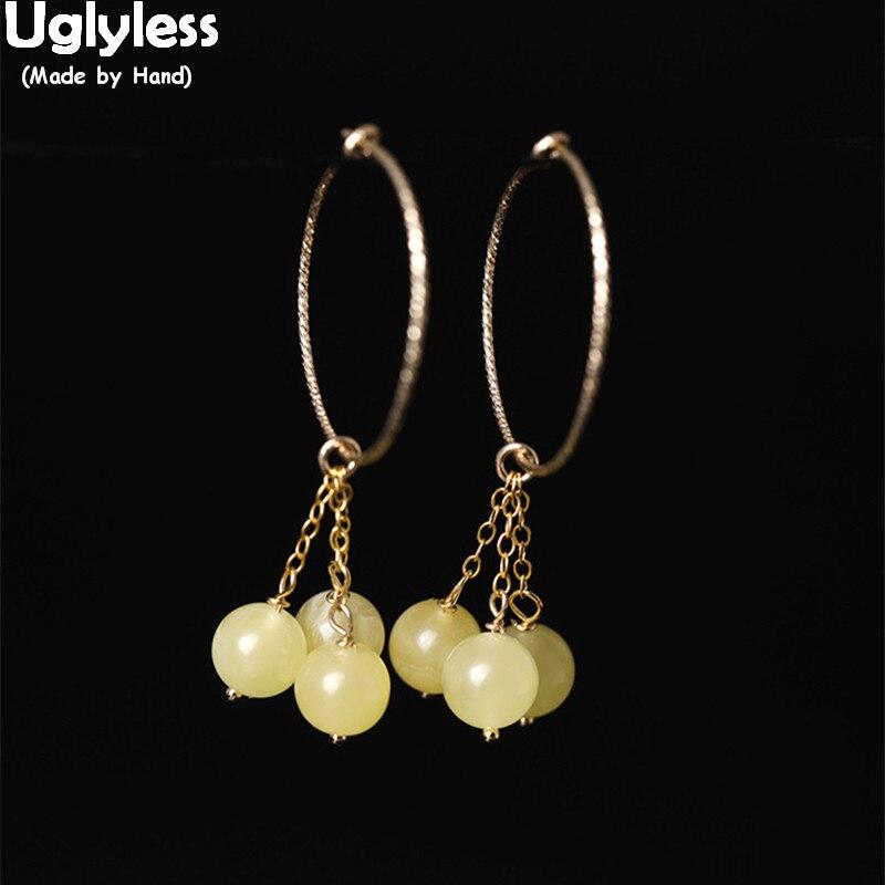 Boucles d'oreilles cercle en or 14 K de luxe sans Uglyless pour femmes boucles d'oreilles Sexy de vacances d'été boules d'ambre naturel gland Brincos