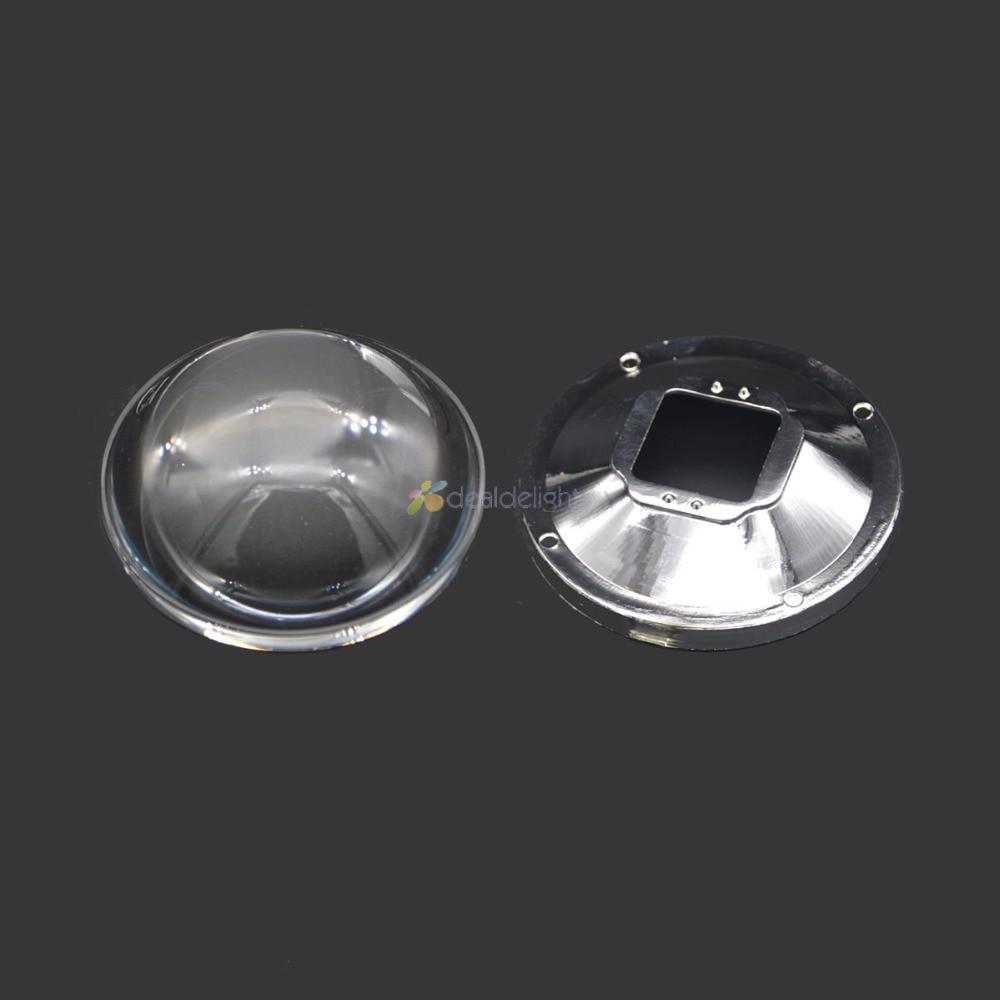 78mm Transparente Led Reflector de lente de vidrio óptico 5-90 grados + 82mm Soporte de lente para luz de lámpara LED de alta potencia