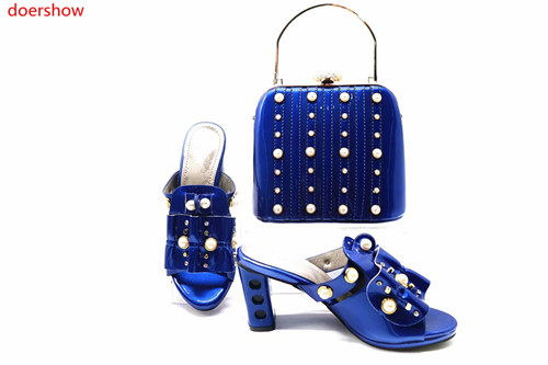 все цены на doershow good good Shoes And Bag Set New 2018 Women Shoes And Bag Set In Italy Italian Shoes with Matching Bags Set!!HBR1-8