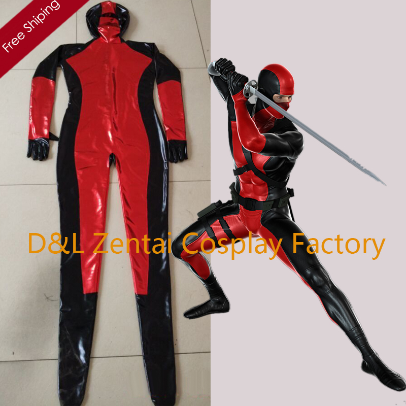 Free Shipping DHL Wholesale Cool Shiny Metallic Black And Red Zentai Super Hero Suits Open Eyes Halloween Costume For Events