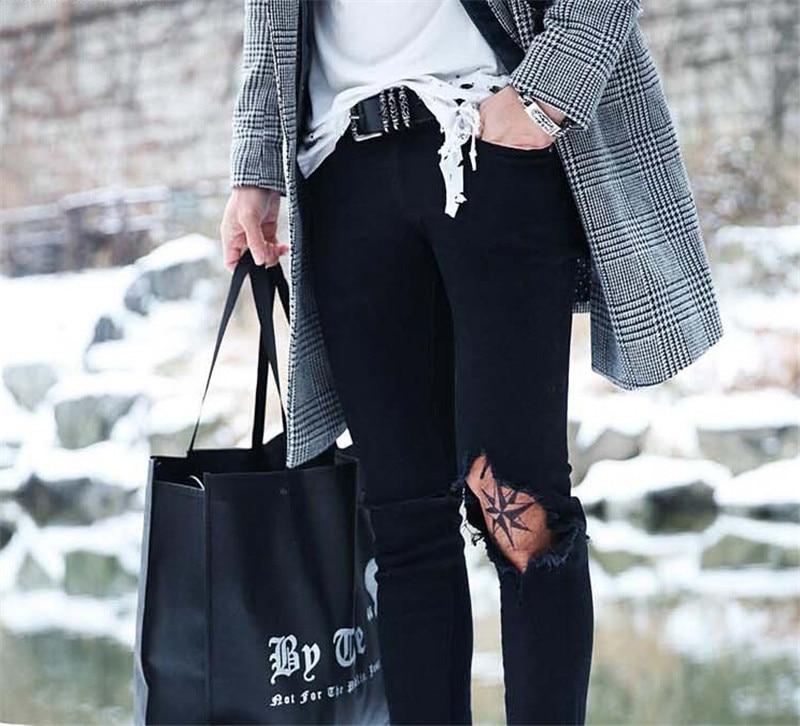 2015 Spring New Fashion Black Ripped Biker jeans men Distressed Skinny mens denim Jeans Stone Pants