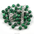 Popular rosary necklace made by 8 mm green peacock round bead and rose crucifix