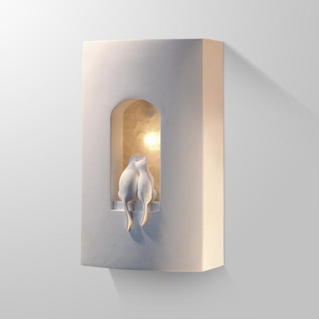 Lampade da parete moderni due innamorati gattini gesso - Applique moderni da parete ...