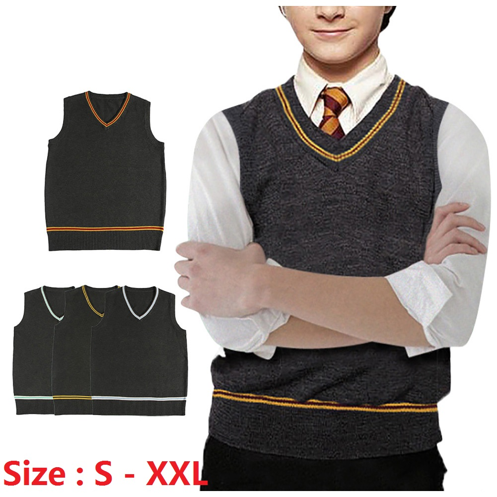 Harry Potter With Sweater  Charming   Handsome  V Neck Sweater  Ordinary Jk Uniform Sweater Vest  Cute  Fashion  Men And Women