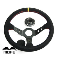 SPECIAL OFFER Original Logo 3 Spokes Deep Dish 14 Inch 350mm Suede Steering Wheel for Racing Sport Car