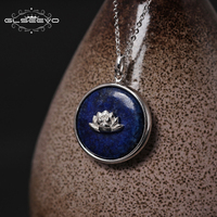 XlentAg 925 Sterling Silver Lapis Lazuli Lotus Flower Necklaces & Pendants Chain Handmade Necklace Fine Jewelry Colar GN0014