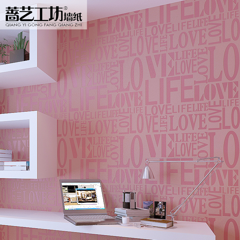 ФОТО Modern Tapete Wallpaper For Bedroom Pink Pvc Wallpaper Love Quotes Wallpaper English Characters Wallpaper Papel De Parede Roll