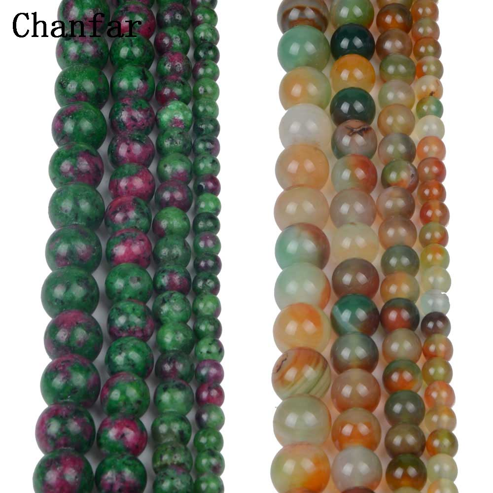 Epidote Malachite Agat Beads Women Jewelry Fashion Making Beads 4 6 8 10 12mm