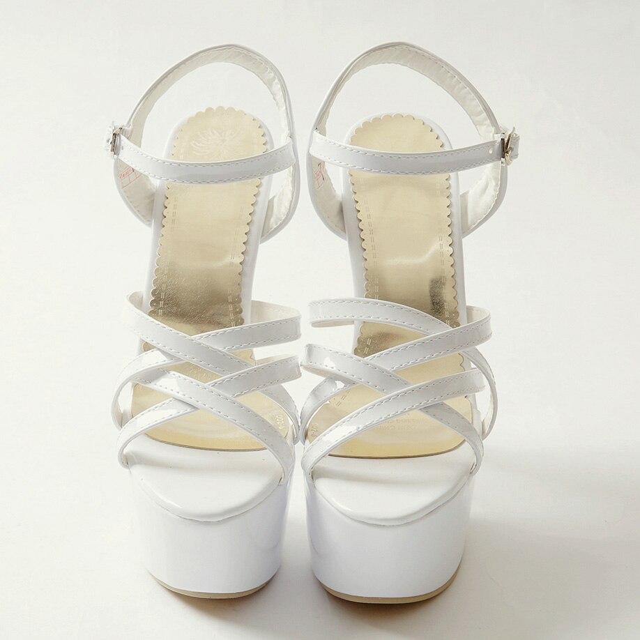 Schwarzes weiß Schuhe Hohe Sexy 40 Mode 48 Größe Super Weiß Sandalen Plus Spitze Sommer Dünne Frauen Xianyiduo2019 Offene rot Plattform Rot 018 IYqHx1wn