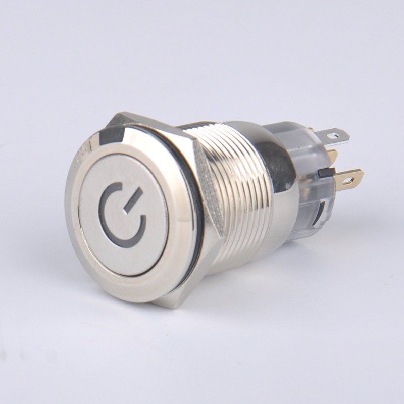 LVBO brand new 19mm Nickel Plated brass Reset Normally Open power symbol Metal PushButton Switch Waterproof Momentary 5 x 13 18 mm brass nickel plated m30 2 0 mm electric cable gland waterproof