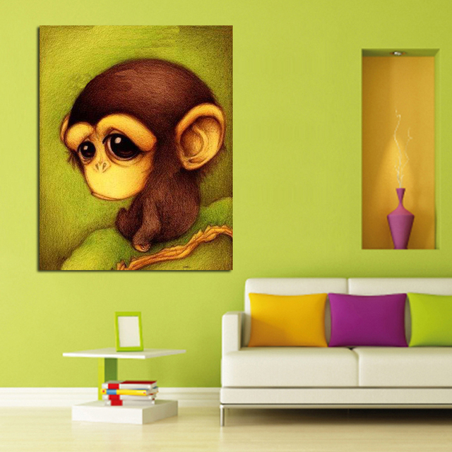 Modern Abstract Art Lovely Monkey Oil Painting Abstract Handpainted ...