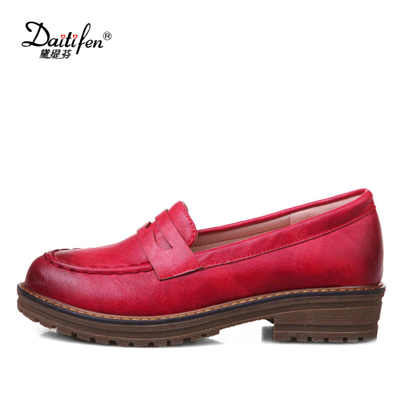 Daitifen 2018 Casual Italy Zapatos Vintage Round Toe Ladies Footwear Mixed Colors Sewing Women's Oxfords Shoes Big Size 32-43 big italy