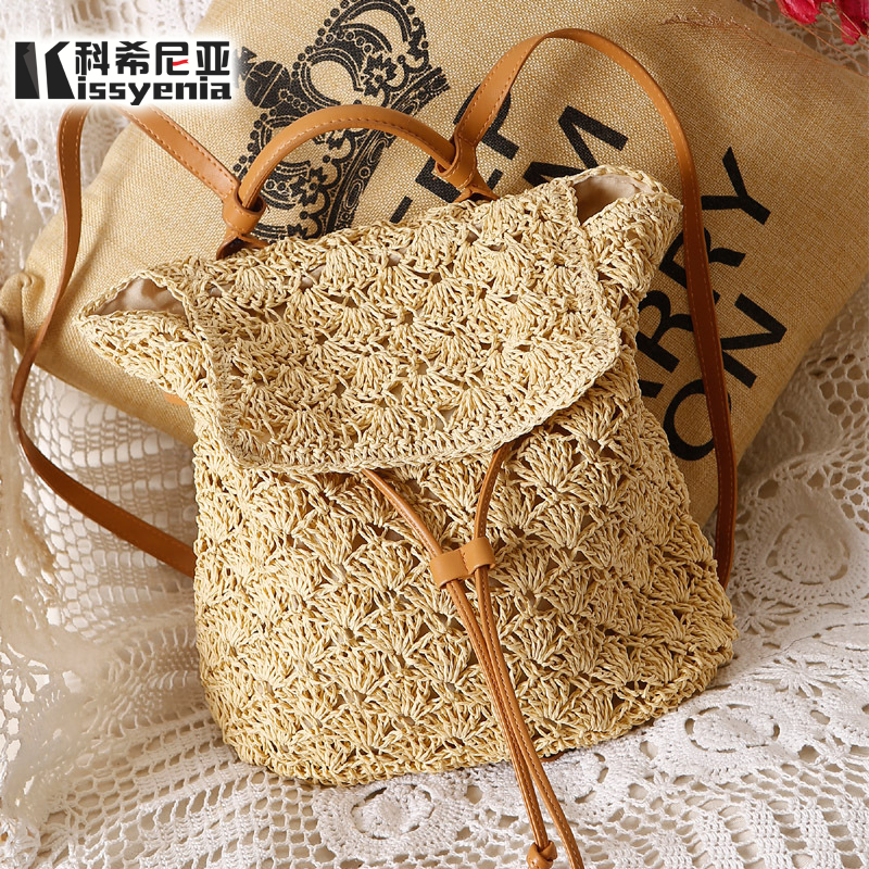 Kissyenia Ins Popular Handmade Rattan Backpacks Women Straw Backpacks Bohemia Women Bali Hollow Out Summer Wicker Bags Ks1162