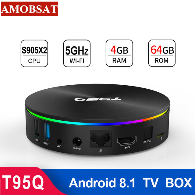 T95Q 4GB 64GB TV BOX Android 8.1 LPDDR4 Amlogic S905X2 Quad Core 2.4G & 5GHz double Wifi BT4.1 1000M H.265 4K lecteur multimédia PK mi box image
