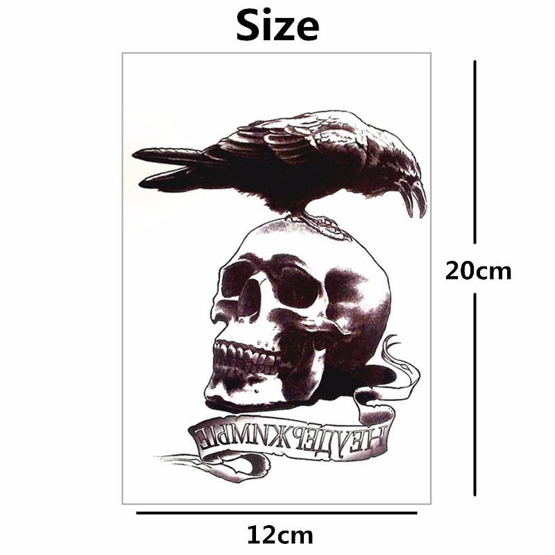 Nu-TATY Raven Crow Skull Temporary Tattoo Body Art Sleeve Arm Flash Tattoo Stickers 12*cm Waterproof Tatto Henna Fake Sticker 1