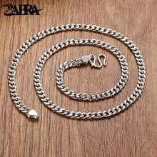 ZABRA 925 Sterling Silver 5mm 50cm Horsewhip Chains Necklace For Men High Polished Vintage Thai Silver Retro Jewelry For Male(China)