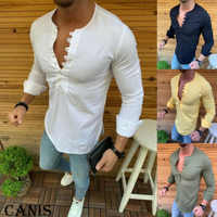 2019 Hot Sale New Style Men's Slim Fit V Neck Long Sleeve Muscle Tee T-shirt Casual Button-Down Shirts