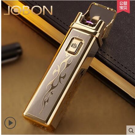 Jobon USB rechargeable lighter ultra thin metal font b electronic b font font b cigarette b