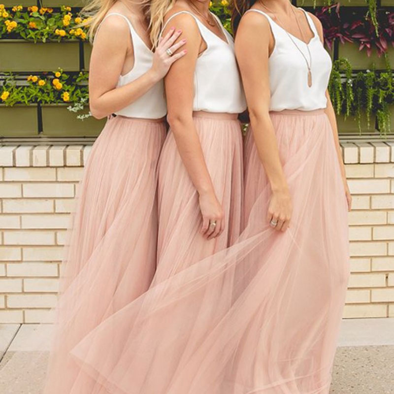 BeryLove Blush Long Beach   Bridesmaid     Dresses   2019 Two Pieces Simple V Neck Wedding Party   Dress   Contrast Color   Bridesmaid   Gowns