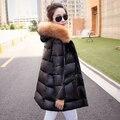 2015 mulheres de inverno ocasional magro grande Natural pele de vison para baixo casaco Plus Size médio - longo espessamento vestuário S-2XL