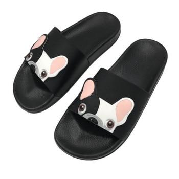 Cute Dog Cartoon Women Slides Pu Leather Beach Shoes Women Flat Heels Flip Flops Barefoot Slippers