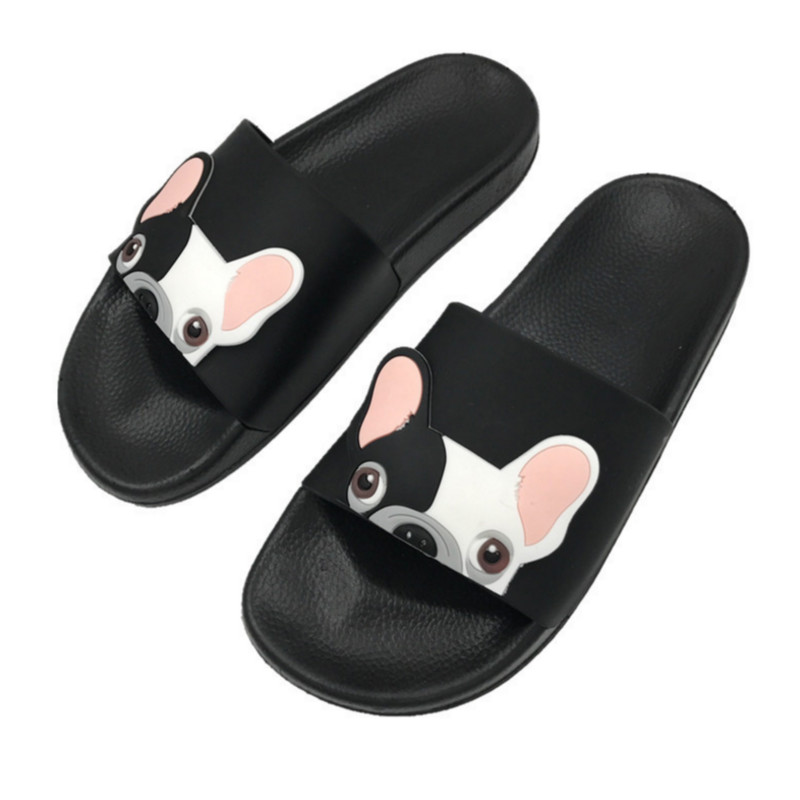 Cute Dog Cartoon Women Slides 2018 Fashion Pu Leather Beach Shoes Women Flat Heels Flip Flops Barefoot Slippers Zapatillas Mujer