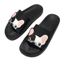 Милая собака мультфильм женские туфли без задника 2018 модная обувь из искусственной кожи женская пляжная обувь на плоской подошве вьетнамки босоножки zapatillas mujer