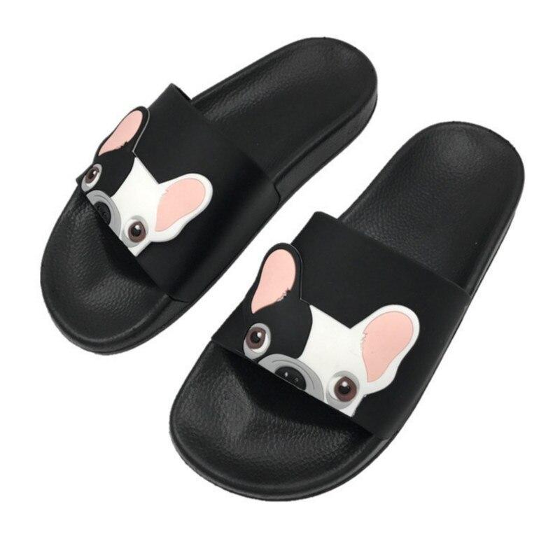 Cute Dog Cartoon mujeres Slides 2018 moda Pu cuero playa zapatos mujeres tacones planos chanclas sandalias descalzas Zapatillas Mujer