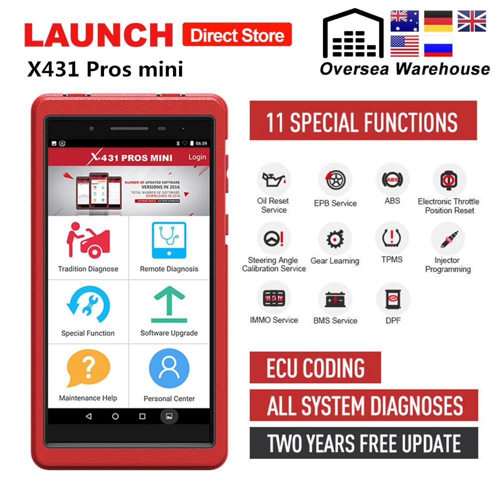 Lancement de X431 Pros Mini outil de Diagnostic automatique système complet X-431 Pro Pros Mini Scanner de voiture analyseur de codage ECU 2 ans mise à jour gratuite