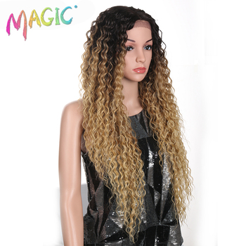 MAGIC Hair Kinky Curly Glueless High Temperature Fiber Hair 32 Inch Natural Blonde Synthetic Lace Front Wigs For Black Women 2