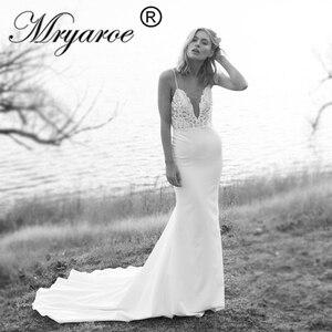 Image 1 - Mryarce Unique Bridal Crepe Mermaid Gowns Spaghetti Straps Lace Beading Open Back Wedding Dresses