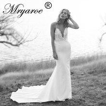 Mryarce vestido de novia único, sirena, tirantes finos, encaje, rebordear, Espalda descubierta, boda