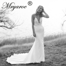 Mryarce ייחודי כלה קרפ בת ים שמלות ספגטי רצועות תחרה ואגלי גב פתוח חתונת שמלות