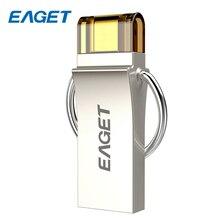 EAGET Metal USB Flash Drive 32GB OTG Mini USB 3.0 Pendrive 16GB Micro Memory U Disk Storage Flash Stick 64GB For Android PC V90