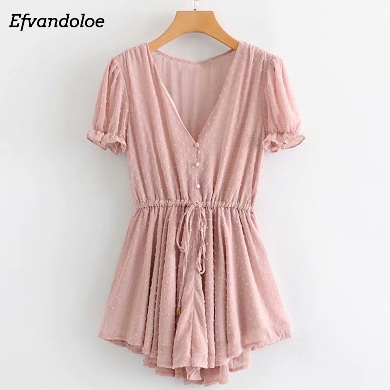 Efvandoloe Pink Playsuits Women 2019 Summer Beach   Jumpsuits   Holiday Overalls Rompers Mono Mujer Dungarees Playsuit
