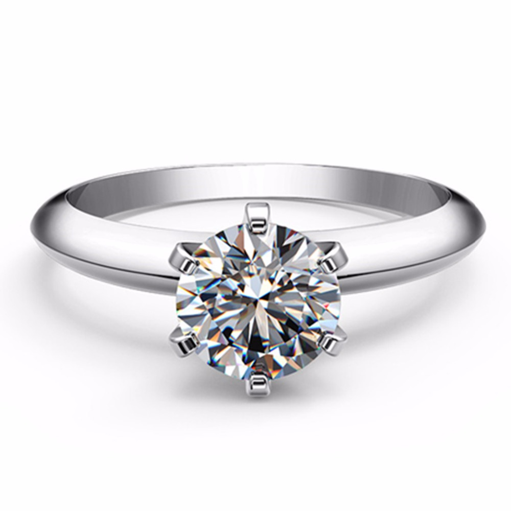 6 5mm Classic T Brand CHARLES COLVARD Moissanite Diamond 6 Prongs Setting Solid Platinum 1Carat Ring