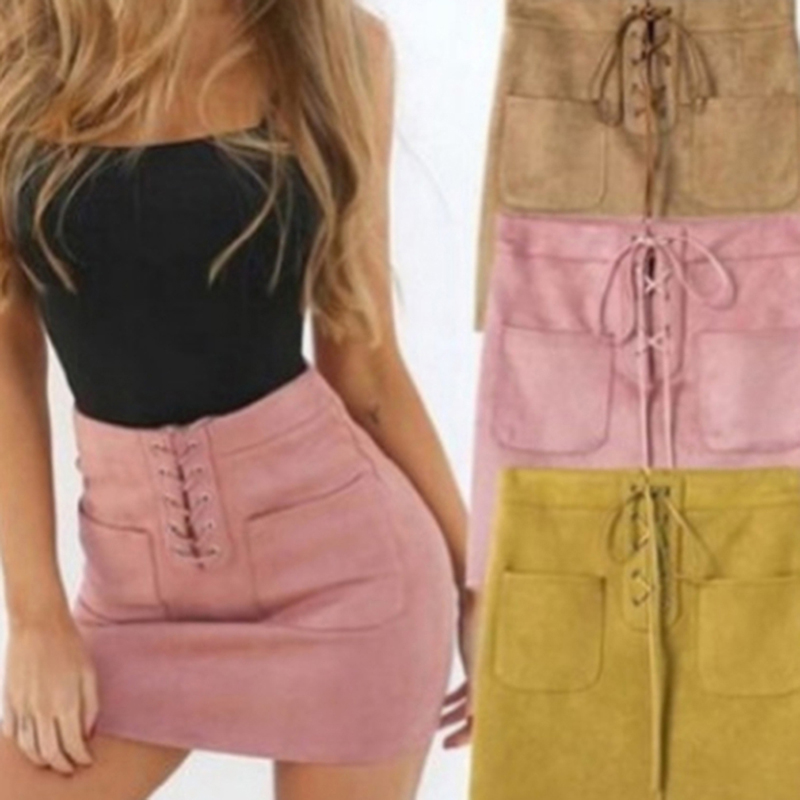 Fashion Suede Lace Up Bandage Skirt High Waist Party Pencil Short Mini Skirt Summer Elegant Mini Skirt 3 Colors
