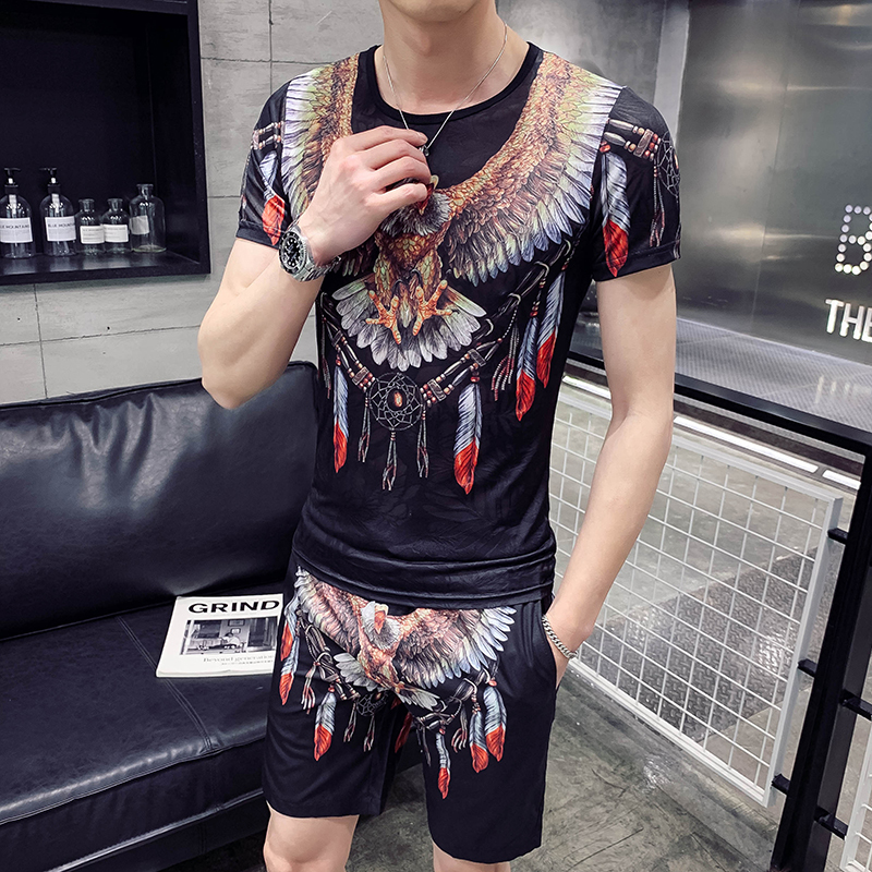 Summer Set Men Short Sleeve Shorts Sweatsuit+Pants Designer Print Hip Hop Tracksuit Mens O-neck Casual Social 2pcs Sweat Suit