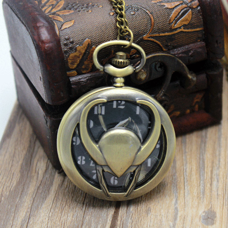 New Fashion Vintage Bronze Vintage Pendant Pocket Watch LOki Quartz Watches With Necklace Chain Cool Gift For Men Women Children retro bronze flower hollow alloy quartz pocket watches necklace chain gift w208 exquisite designs new vintage casual trendy