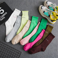 2018 fashion tube socks silver onion letters street tide socks personality F12002