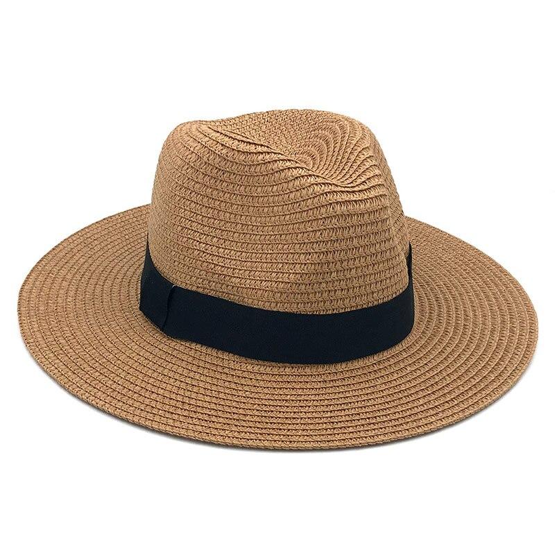 Femme Vintage Panama Hat Men Straw Fedora Sunhat Women Summer Beach Sun Visor Cap Chapeau Cool Jazz Trilby Cap Sombrero