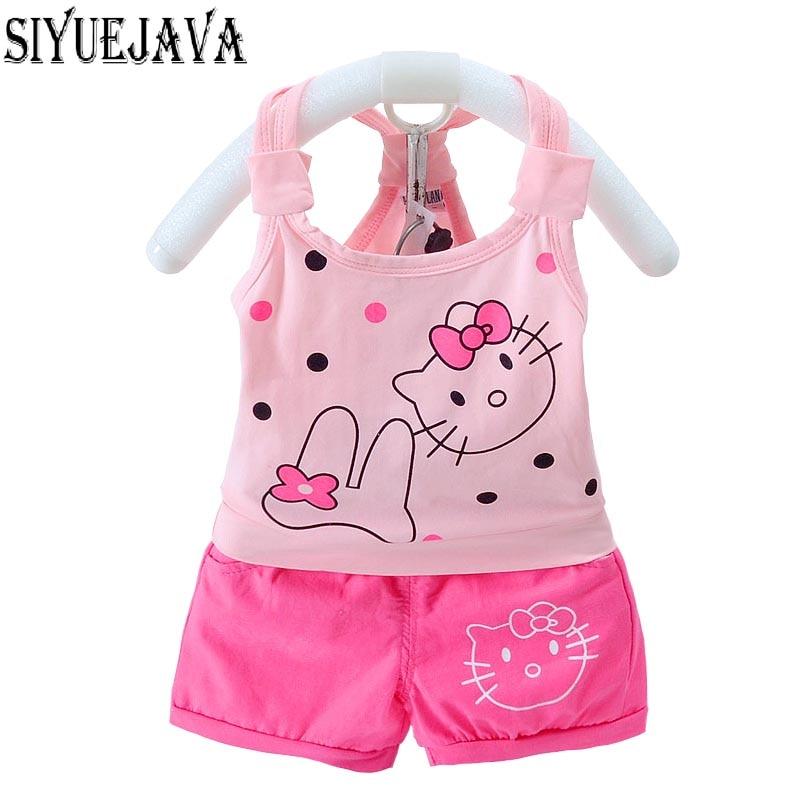 2st / Lot Nyfödda Baby Girl Kläder Set Summer Style Tecknade Tryck - Babykläder