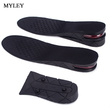 MYLEY Breathable 1 Pair Increase Height Lift Soft PVC Shoe Pad 3-5 CM 3-Layer Sport Insole Air Cushion Heel Insert For Men Women(China)