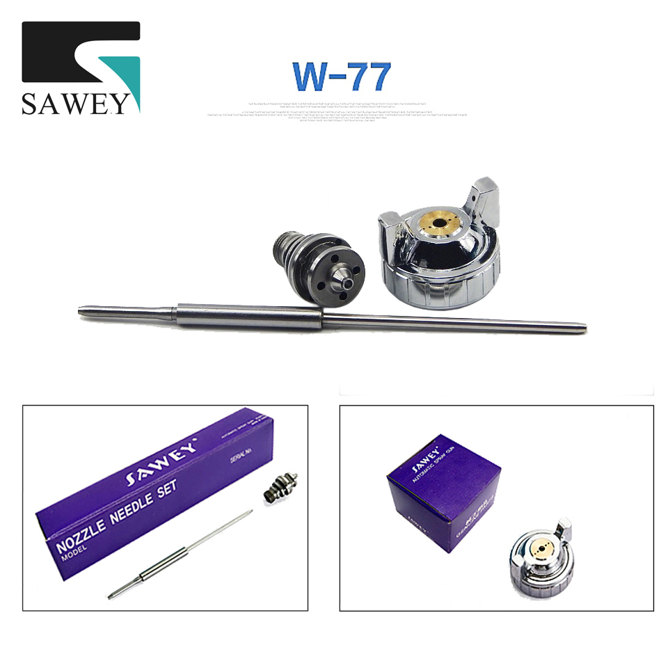 Sawey W-77 Portablely HVLP Air Spray Gun Auto Car Detail Touch Up Paint Sprayer Nozzle Kits,Japan kits paint tool Free shipping sat0086 free shipping auarita airbrush paint guns professional paint sprayer high pressure air gun tank paint sprayer pneumatic