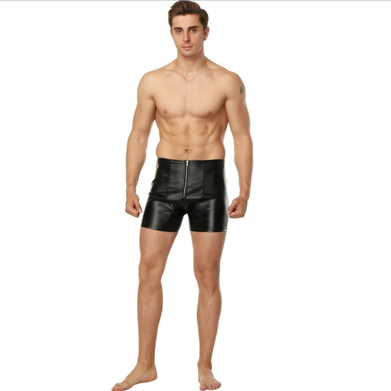 M-XXL Exclusive Sexy Men Black Faux Leather Short Boxer Fashion Clubwear Front Zipper Jockstrap Fetish Guy Underpants Underwear