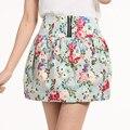 Polka Dot faldas para mujer 2015 primavera y el verano falda plisada falda corta de la alta cintura de la impresión Floral Jupe crayón