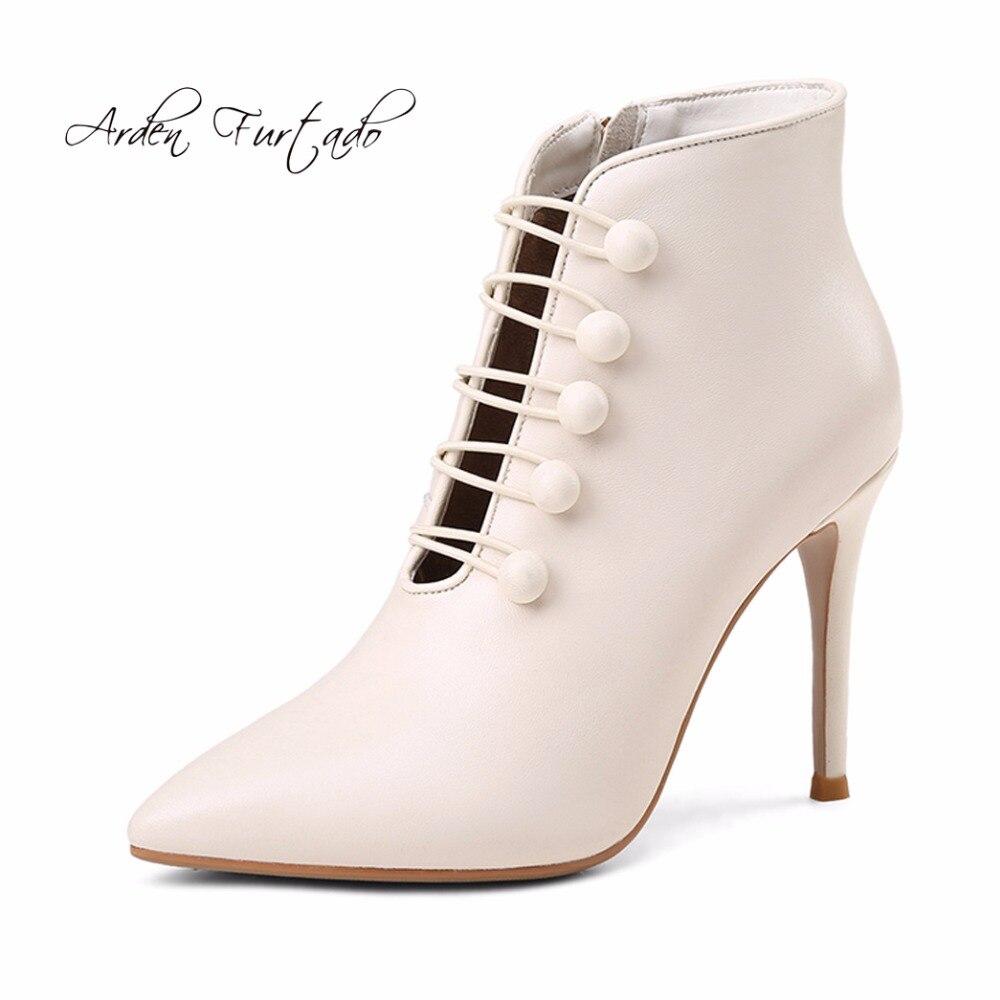 Ayakk.'ten Ayak Bileği Çizmeler'de Arden Furtado 2019 bahar sonbahar hakiki deri dantel up çapraz bağlı yarım çizmeler ayakkabı için kadın moda stilettos ayakkabı kadın'da  Grup 1