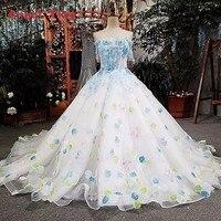 Engel Baum Elfenbein hochzeit kleid mit blaue spitze blumen lace up zurück online-shop china vestidos de noiva 2018 robe de mariee