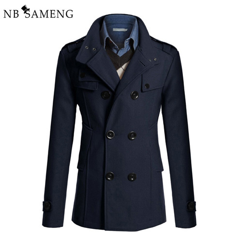 2017 Nova Moda Estilo Britânico Trench Coat Casaco de Ervilha Homens Slim Fit Inverno Sobretudo Dragona Jaqueta jaqueta Masculina 13M0100 Cappotto
