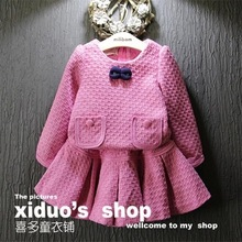 new 2015 autumn winter toddler girl clothing set bow tie long sleeve plaid tops skirts 2pcs